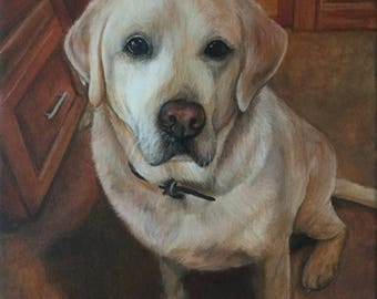 Yellow lab painting from photo custom pet portrait on canvas hand painted yellow labradoor retriever dog art