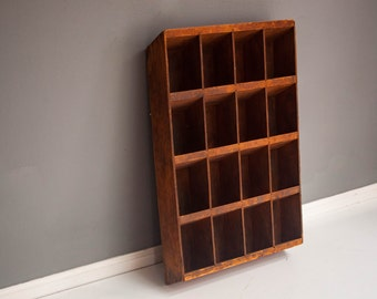 Vintage Rustic Wood Wall Storage Shelf with Compartments - Hanging Storage