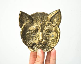 Vintage Brass Cat Trinket Dish