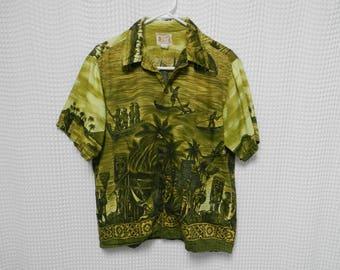 vintage 60s Hawaiian Shirt Native Fishing Village Polynesian Bazaar rayon blend Mens L sixties RARE Hawaii Island wear silky green