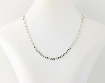 """Women's Curb Chain Necklace 16"""" - Sterling Silver Lobster Claw Clasp Q6049"""