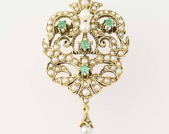 Convertible Emerald & Cultured Pearl Brooch - 14k Yellow Gold Pendant .34ctw N8514