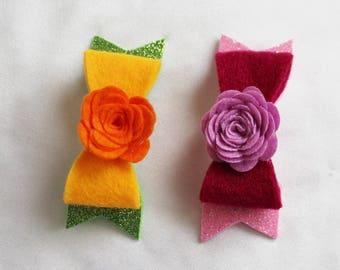 Pink Hair Bow - Orange Hair Bow - Baby Hair Clip -  Glitter Hair Bow - Glitter Hair Clip - Ready to ship