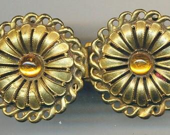 Antique VintageBuckle -Yellow Metal with Yellow Stones 1930's 1940's