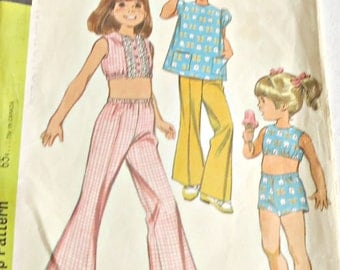McCall's 9730 Sewing Pattern Child's Pants Shorts Top & Cover Up 1960s