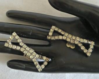 Vintage Shoe Clips Dress Clips Rhinestones 1940's