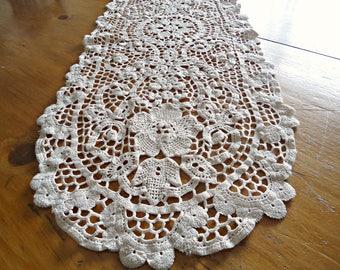 Doily Crocheted Runner Doily Vintage Ecru Doilies Long  F3