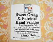 SALE: Sweet Orange & Patchouli Hand Sanitizer, Organic Anti-Bacterial, Protective Essential Oils, Safe Non-Triclosan, Kill Germs, Moisturize