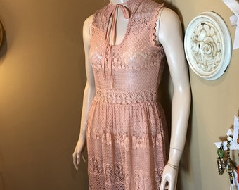 NUDE /Ecru Color Crochet LACE Dress, Vintage Boho Grunge,  Mod 1960s Hippie Chic / Retro 1990s Hipster, Sm.LONG .Sleeveless. detailed design