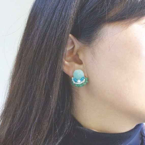 Multi stone stud earrings - amazonite