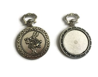 2 Cabochon Setting, Alice Rabbit Blank Bezels, Antique Silver Plated Alice in Wonderland Pocket Watch  P 30 078