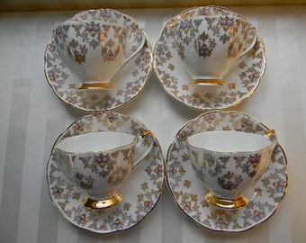 4 Vintage Queen Anne, Bone China, Teacups