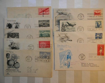 9 First Day Issue AIR MAIL Stamp Covers, 1941-1963