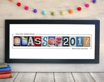 Class of 2017, FRAMED Alphabet Photography Print,  graduation gift 2017, photo letters