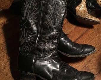 Mens 9 Vintage justin black leather cowboy biker motorcycle boots