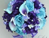 "RESERVED LISTING 26 Piece Package Wedding Bridal Bouquet Silk Flowers Bouquets Maid Bridesmaid MALIBU ""Lily of Angeles"""
