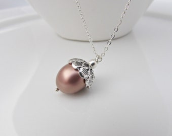 Acorn Necklace, Bridesmaid Gifts, UK Seller, Gifts for Girls, Pearl Necklace, Pearl Pendant, Bridesmaid Necklace, Woodland Wedding Gifts