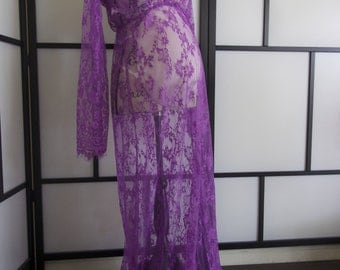 Ready to ship magenta Lace Maternity Dress , floor length, maxi, photography, photo prop, lace, gown, white, full sleeve,floor length