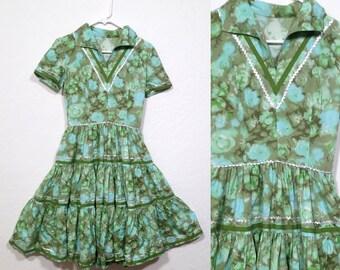 Vintage 1950s Casual Day Cotton Swing Dress. Vintage Patio Dress. Pastel Green Aqua. Fiesta Dress. Rockabilly dress. Squaw dress