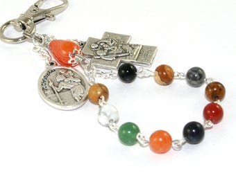 Saint Christopher & Guardian Angel Rosary Clip - Travel Rosary, Farewell Gift