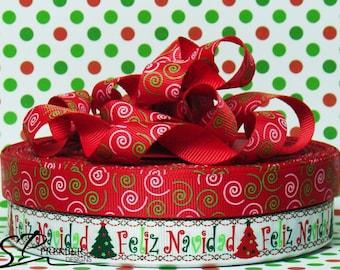 "5/8""  Feliz Navidad Grosgrain Ribbon"