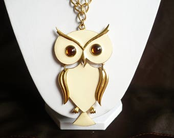 Vintage Art Brand Articulated Owl Pendant Enamel Amber Glass Eyes Large Necklace
