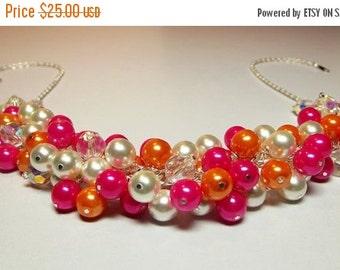 30% OFF SALE thru 2-28 Hot Pink Orange White Pearl Cluster Necklace, Mom Christmas Bridesmaid Halloween Wedding Aunt Girlfriend Mother Birth