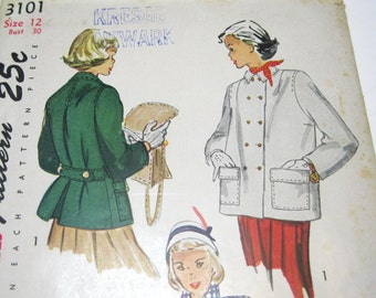 1940s Jacket Pattern: Coat or Topper, Simplicity 3101, FF 40s Coat Pattern