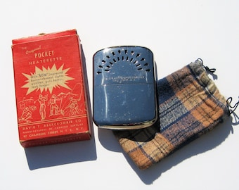 Vintage Abercrombie Hand Warmer: David Abercrombie Camping Gear, Original Box and Flannel Bag