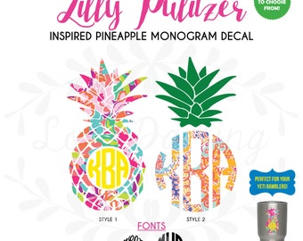 """Lilly Pulitzer Inspired Pineapple Monogram Vinyl Decal 3""""-6"""" Two Colors Pineapple Yeti Decal"""
