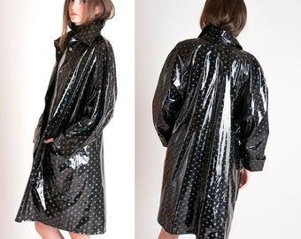 Black Patent Trench Coat / Vintage PVC Jacket / Black Patent Raincoat / 1980s Slicker / Polka Dot PVC Trench Coat / Size M L