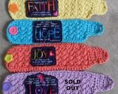 Scripture Mug Cozies: crochet applique' Hope/Joy/Faith/Love scripture cozy (choose 1 or more)