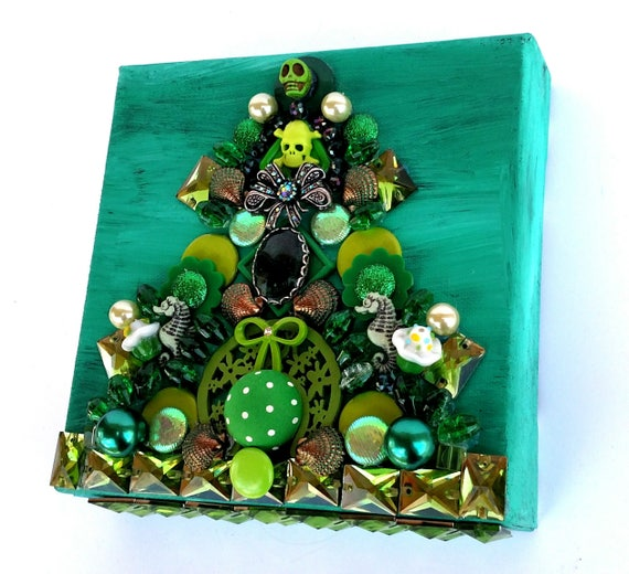 Green Treasure Canvas - Mixed Media Miniature Canvas
