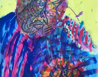 Technicolor Man Drawing - Abstract Portrait