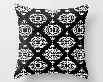 Diamond Damask Print Throw Pillow, 16 Color Options, Indoor, Outdoor, Modern Bedding, Geometric, Minimalist, Customizable, Black White