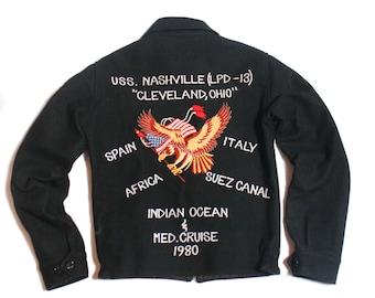 1980's US Navy Wool Souvenir Tour Jacket USS Nashville (LPD-13)