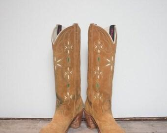 40% off SALE 6.5 N | Women's Western Wear High Heel Brown Suede Tall ACME Inlay Cowboy Boots