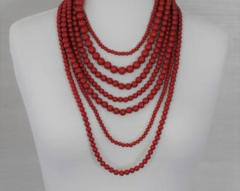 Bib Necklace, Layered Necklace, Multi strand red necklace, Gift for her, Mother's day gift, Summer necklace, Beaded Necklace