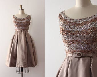vintage 1950s party dress // 50s sequins and silk evening dress