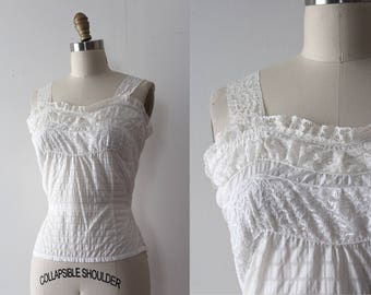 vintage 1940s blouse // 40s lace white top