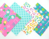 Quilt Square Clearance Grab Bag in Fun Frogs and Butterflies and Matching Prints 50 Squares