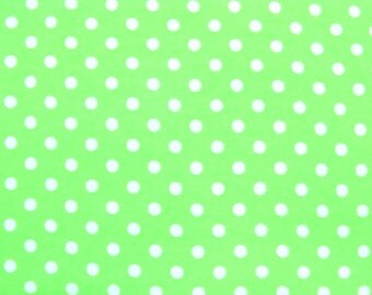 Flannel Fabric by the Yard in a Lime Green and White Polka Dot Print 1 Yard