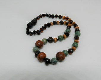 Amber Teething Necklace with Gemstones  and Wood 13.5 Inch Teething Relief Real Baltic Amber