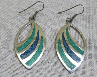 Vintage Southwestern Design Alpaca Metal Pierced Earrings, Turquoise and Sodalite