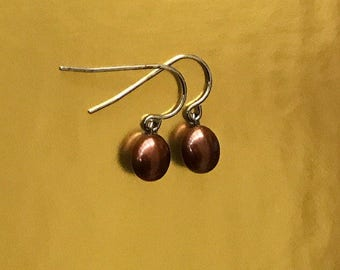 Oval Chocolate Drops Sterling Silver and Genuine Brown Pearl Dangle Earrings