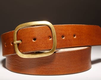 Brown  Leather belt with Brass Buckle - Handmade in USA