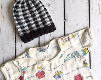 Knit Buffalo Plaid Baby Hat Pattern PDF Knitting Pattern Baby Hat Lumberjack Plaid Baby Hat Hipster Baby Hat Pattern, Digital Download