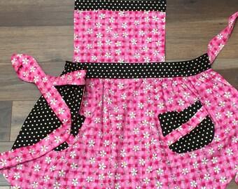 Hot Pink Retro Apron - Pink Gingham Bumblebees and Polka Dots Reversible Retro Apron