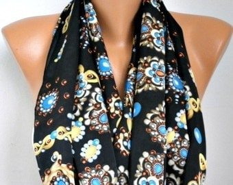 ON SALE --- Spring Black Floral Infinity Scarf Mother's Day Gift Circle Loop Scarf Gift Ideas For Her Women Fashion Accessories