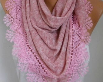 ON SALE --- Dusty Pink Knitted Scarf Shawl Cowl Lace Oversized Bridesmaid Bridal Accessories Gift Ideas For Her Women Fashion Accessories,Va
